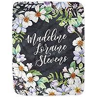 Custom Baby Name Blanket Girls Plush Fleece Wildflowers