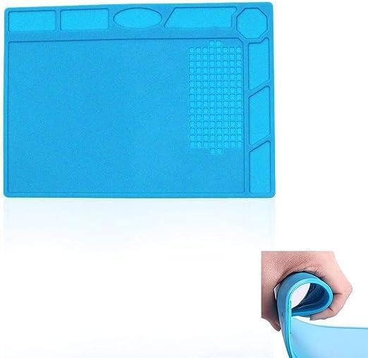 Estera de soldadura resistente al calor Almohadilla de silicona Plataforma de mantenimiento para soldador Estera de reparaci/ón de silicona con aislamiento t/érmico