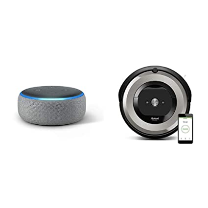 Echo Dot gris oscuro + iRobot Roomba e5154 - Robot Aspirador Óptimo Mascotas, Succión 5 Veces Superior, ...