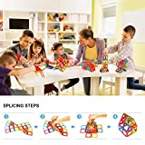 Kidcheer Magnet Building Tiles, Magnetic 3D Building Blocks Set for Kids, Magnetic Educational Stacking Blocks Boys Girls Toys, 64 Piece