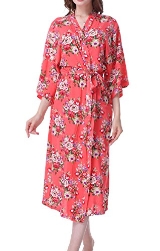 ALLINLOVER Women's Cotton Floral Kimono Robe Soft Breathable for Bridal Party,Sleepwear with Long Sleeves,Coral,Large&X-Large