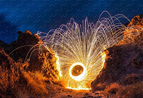 Spinning Light Trails Steel Wool Photography 1500 Piece Jigsaw Puzzle 34.4 X 22.6