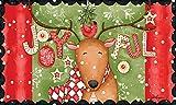 Lang 3210034 Joyful Reindeer Door Mat by Lori Lynn Simms, 30 x 18