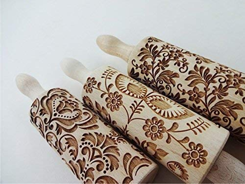 FLOWERS 3 KID Rolling pin SET Wooden Laser Cut Mini Rolling Pins for cookies, play dough, salt dough or clay Damask Folk Floral Wreath by Sun Crafts