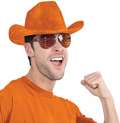 Deluxe Cowboy Hat Team Spirit Adult Unisex, Orange, School Team Colors Fan Gear for $<!--$9.99-->