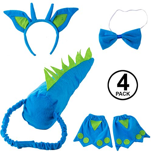 Tigerdoe Dragon Tails - Dinosaur Costume - Dino Theme Party - Dress Up - Animal Tails (Blue and Green Dragon Accessories)