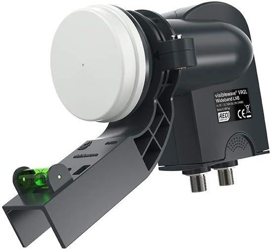 Labgear Visiblewave SKY Q Twin LNB Banda ancha, especificación del Reino Unido, incluye soporte MK4 con nivel de espíritu. VW2L para antena parabólica