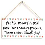 Meijiafei PLEASE DO NOT FLUSH Paper Towels, Sanitary Products, Tissues & Wipes. Thank You! - Fun Love Heart Design For Bathroom Or Toilet Using A Septic Tank System 10''x5''