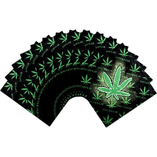 SSK Bandana 12-Pack. One Dozen Colorful Bandanas (Marijuana, Weed, Hemp, Cannabis) from Shoe String King