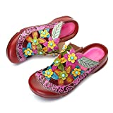 gracosy Women Leather Sandals, Mule Shoes Summer Slip-on Loafers Comfort Outdoor Flat Slipper Clogs Shoes