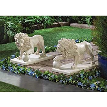 Garden Statue Decor Lion Sculptures Outdoor Indoor Ornament Home Patio  Large Figurines African Wild Animal Decorative