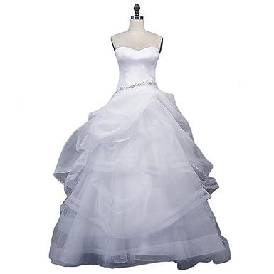 ToiHsuan Women\'s Organza Sleeveless White Long Dresses for Summer ...