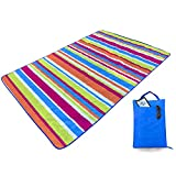 Kute 'n' Koo Outdoor Picnic Blanket Tote, Super Easy to Fold, Machine Washable, Waterproof Backing and Fraying-Free Ultrasonic Sewing Lightweight Camping Blanket, 55' x 79' (Rainbow)