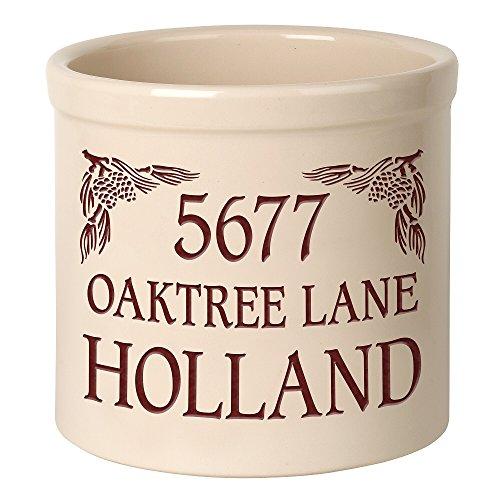 Whitehall Personalized PINECONE ADDRESS Stoneware 2 Gallon Crock Pottery Pinecone