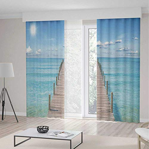 - YOLIYANA Blackout Curtains for Bedroom,Art for Bedroom Living Dining Room Kids Youth Room,Wood Pier Deck in Asian River with Sky and Sun Summer Travel Theme Art Print,2 Panel Set 79W X 83L Inches