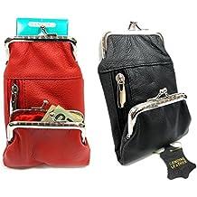 2 Color Pair Women's Genuine Leather Cigarette Case+ Coin Match Lighter Holder Pocket - 1BLACK +1RED