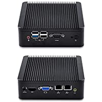 Qotom-Q190S-S02 Fanless Mini PC with 2 Intel LAN Ports, 4GB RAM 64GB SSD 500GB HDD, WiFi, HD Video port, 4 USB, COM, Linux Mini PC, Intel Celeron J1900 Mini PC Quad Core 2 GHz