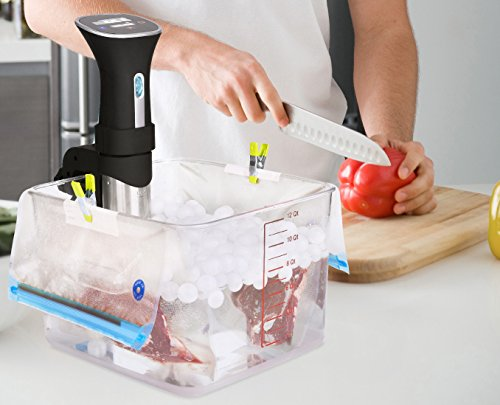 Large Product Image of Sous Vide Bags Kit for Anova Cookers -  20 BPA Free Food Vacuum Sealed Bags, 1 Hand Pump, 2 Bag Sealing Clips and 4 Sous Vide Clips, Reusable & Easy to Use, Practical for Food Storage & Cooking