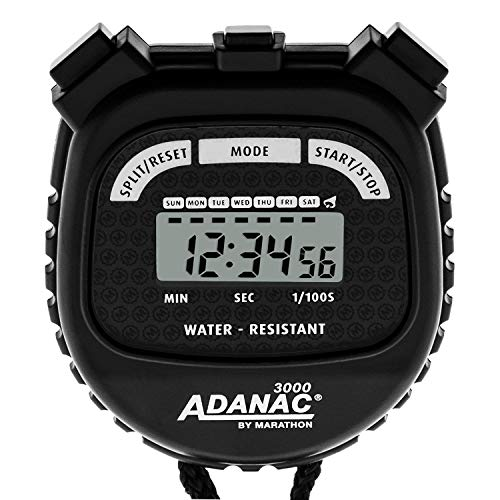MARATHON Adanac 3000 Digital Sports Stopwatch Timer with Extra Large Display and Buttons, Water Resistant. Color- Black. (Pack of 10)