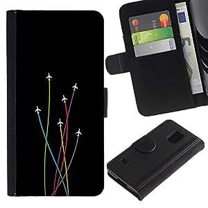 EJOY---Tirón de la caja Cartera de cuero con ranuras para tarjetas / Samsung Galaxy S5 V SM-G900 / --Avión Colores