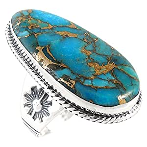 Turquoise Ring Sterling Silver 925 with Genuine Turquoise Size 6 to 11 (6)