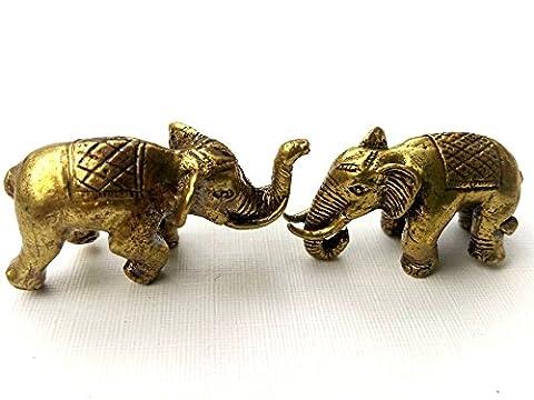 Mini 2 Elephant Brass Powerful Magic Thai Amulet Hunting Money Protection Talisman