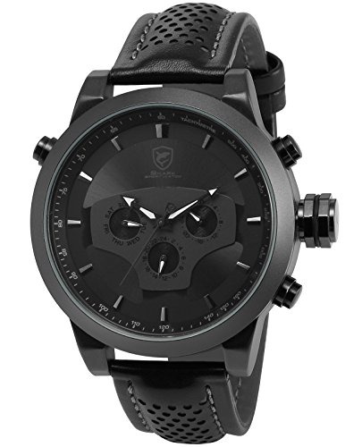 Black Requiem Shark Series Dual Time Zone Analog Date Day Men's Leather Strap Sport Wrist Watch (Day Date Series)