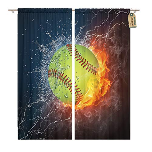 Emvency 104 x 63 Inch Decorative Drapes Orange Softball Baseball Ball on Fire and Water 2D Graphics Computer Design Red Run 2 Panels Window Curtains for Living Room Bedroom Printed