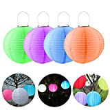LUCKSTAR Paper Lanterns - 12'' Round Waterproof Solar Power Paper Lanterns Lamp with Metal Frame LED Lights for Birthday Wedding Party Decorations Crafts (4 Pack)