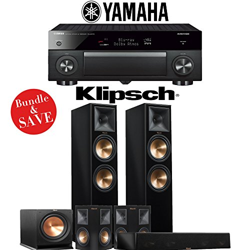 Klipsch RP-280F 5.1-Ch Reference Premiere Home Theater System (Piano Black) with Yamaha AVENTAGE RX-A1070BL 7.2-Channel Network A/V Receiver