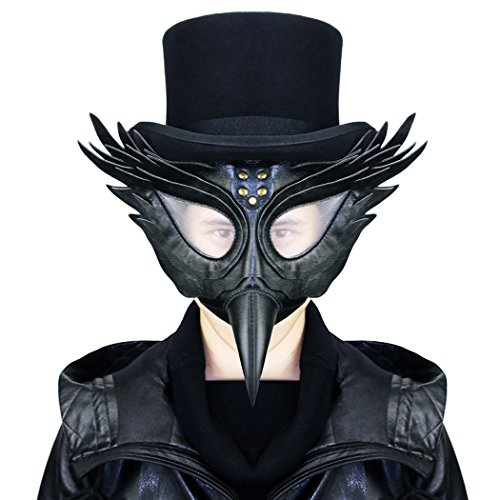 Halloween Mask,Plague Doctor Mask Long Nose Birds Beak Faux Leather and Metal Steampunk For Halloween Party Masquerade (Black Bird Nose Costume)