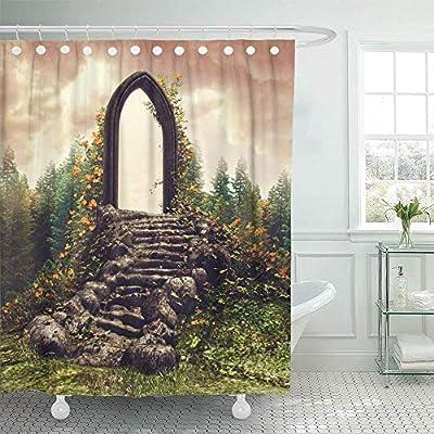 Teyyn-son-Shower curtain Cortina de Ducha Decorativa Portal Colorido Puerta y escaleras de fantasía en Prado floreciente Cerca del Bosque Primavera Hierba Cortinas de baño Impermeables: Amazon.es: Hogar