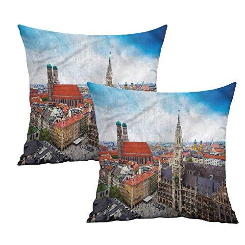 Khaki home Wanderlust Square Slip Pillowcase Munich City Sightseeing Square Funny Pillowcase Cushion Cases Pillowcases for Sofa Bedroom Car W 24