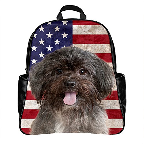 Black Dog Photo - Schoolbags Backpack with Affenpinscher Dog Picture Adult Student , PU Leather