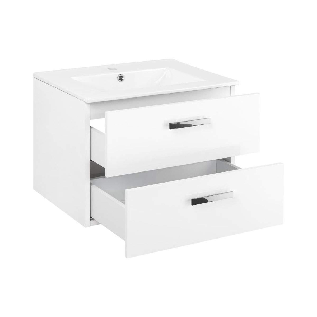 VBChome Luca - Mobile da Bagno con lavabo, 60 cm, 2 cassetti, Bianco