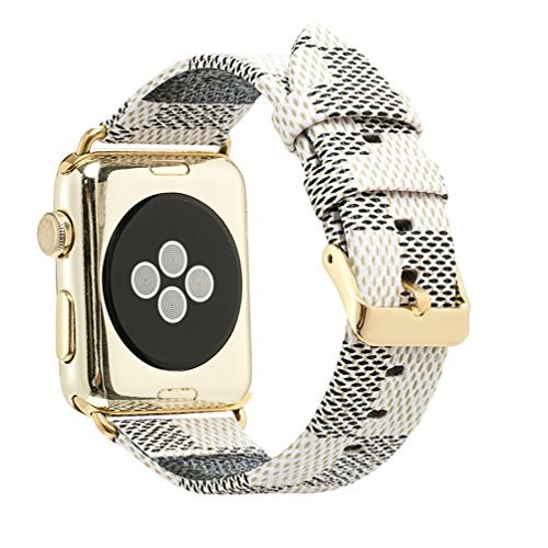 Compatible Apple Watch Band 38mm Fashion Leather iWatch Sport Series 1 Series 2 Series 3 Strap Replacement for Women Men Color Gold Metal Buckle and Connector (White 38mm)