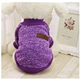 Mapletop High Quality Autumn Winter Warm Pet Dog Sweater Dog Clothes Coat Soft Wool Fleece 8 Colors Small Size S To Xl (S, Purple)