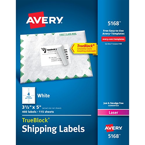 "Avery Shipping Labels for Laser Printers, TrueBlock Technology, 3.5""x 5"", Box of 460 Labels (5168 Template)"