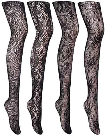 6d08612a4 Cherrydew Womens Sexy Fishnet Tights Suspender Pantyhose Thigh-High Garter Stockings  Black Pattern 4 Pairs