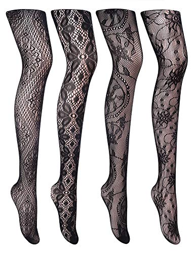Cherrydew Womens Sexy Lace Patterned Tights Fishnet Floral Stockings Pattern Pantyhose 4 Pack (Black7)