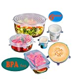 Silicone Stretch Lids - Set of 6 Silicone Food Saver Covers, Reuseable - BPA Free, Dishwasher, Microwave, Oven and Freezer Safe