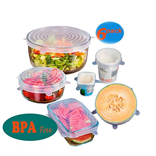 Silicone Stretch Lids GEMAG (6 pack, includes EXCLUSIVE XL SIZE), Reusable, Durable and Expandable to Fit Various Sizes and Shapes of Containers. Superior for Keeping Food Fresh and Freezer Safe