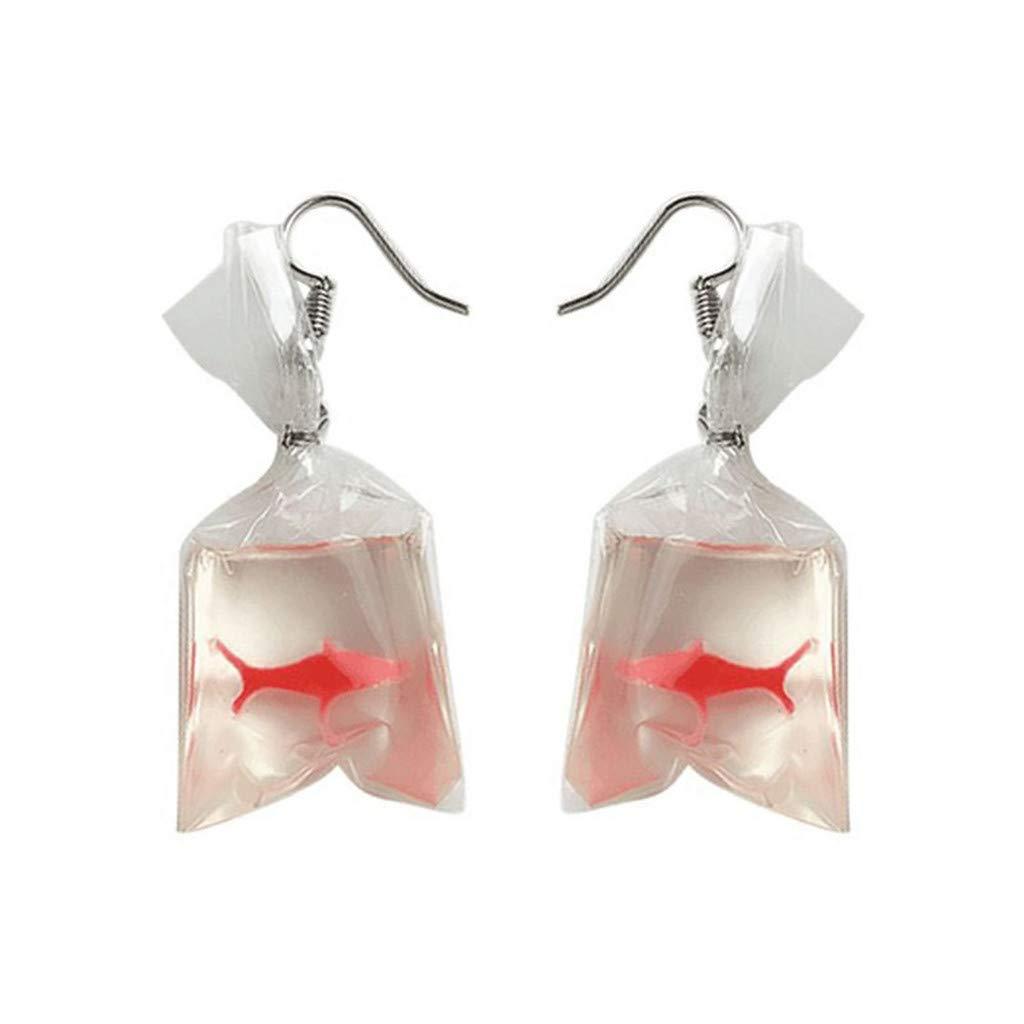Staron Womens Funny Goldfish Water Bag Shape Dangle Hook Earrings for Women Girls (A)
