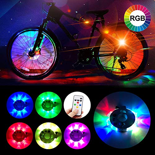 Alritz Remote Control Bike Wheel Hub Light, Rechargeable LED Bicycle Spoke Light, 6 Colors 5 Modes, Waterproof Front Rear Wheel Light for Cycling Safety Warning Decoration, 1 Light