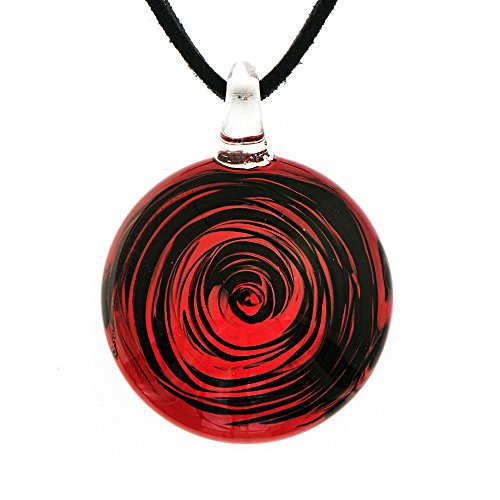 Chuvora Hand Blown Venetian Murano Glass Black Red Circular Wave Art Pendant Necklace, 18-20''