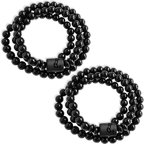 DarkEagle Obsidian Bracelet for Men, Attractive 8mm Stretchy Chakra Bracelet- Odour-Free Buddha Bracelet - Charming (2-Pack) ()