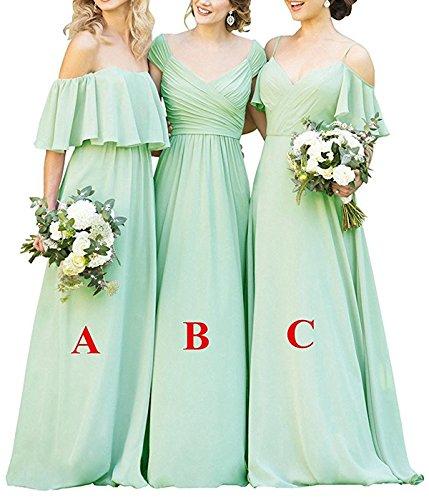 Long Formal Women's Mint Chiffon Evening Cdress Gowns Prom Bridesmaid Ruffles Dresses Shoulder Dress c Off TUwHaq5S