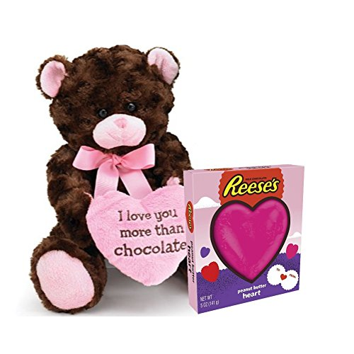 Deluxe Present Combo For Valentine's Day – Adorable Teddy Bear I Love You More Than Chocolate & Delicious Peanut Butter Heart In Heart-Shaped Box – For Men & Women