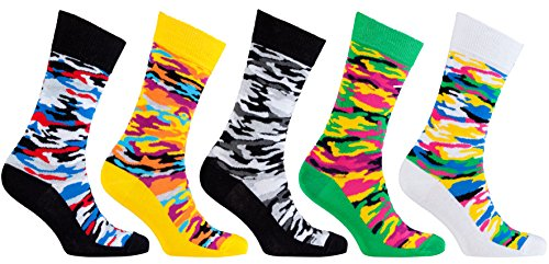 Socks n Socks-Men's 5-pair Luxury Cotton Patterned Cool Dress Socks Gift Box - Camouflage Toe Socks