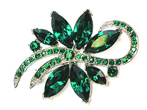 Emerald Green Rhinestone Pin (Faship Floral Pin Brooch Stunning Emerald Color Green Crystal)